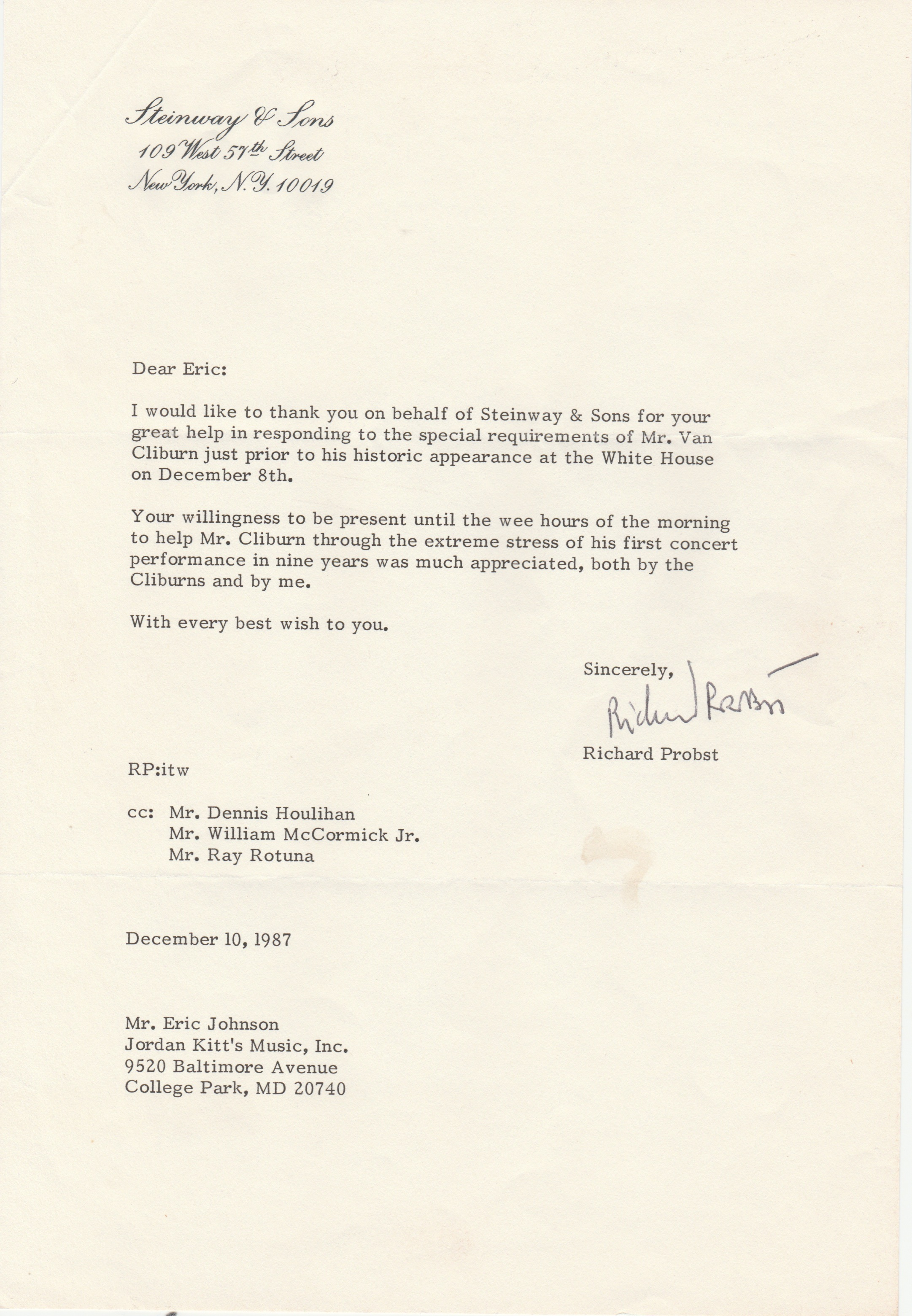 A letter from Steinway
